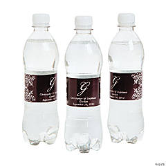 Script Monogram Chocolate Water Bottle Labels