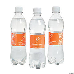 Script Monogram Orange Water Bottle Labels