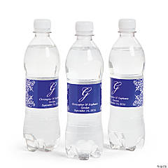 Script Monogram Purple Water Bottle Labels