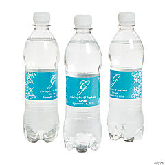 Script Monogram Turquoise Water Bottle Labels