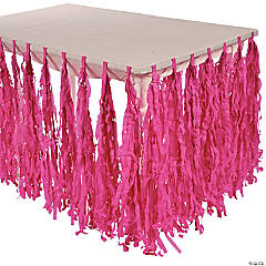 Self-Adhesive Hot Pink Fringe Table Skirt