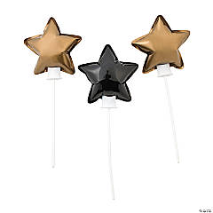 Self-Inflating Black & Gold Star Mylar Balloons