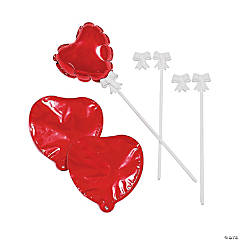 Self-Inflating Red Heart Mylar Balloons