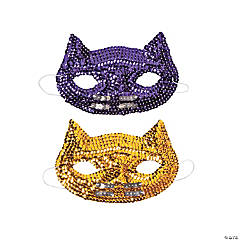 Sequin Cat Mardi Gras Masks