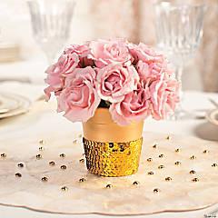 Sequin Trim-Wrapped Flowerpots Décor Idea