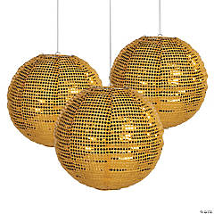 Sequined Gold Hanging Lantern