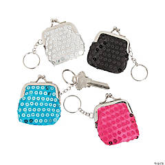 Sequined Mini Coin Purse Keychains
