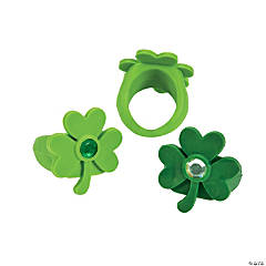 Shamrock-Shaped Rhinestone Rings
