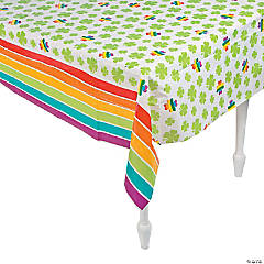 Shamrocks & Rainbows Plastic Tablecloth