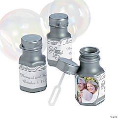 Silver Anniversary Custom Photo Hex Bubble Bottles
