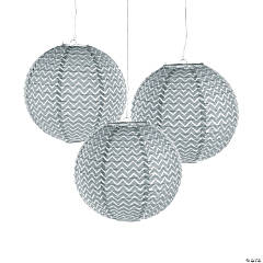 Silver Chevron Hanging Paper Lanterns