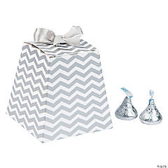 Silver Chevron Tapered Wedding Favor Boxes