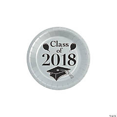 Silver Class of 2018 Grad Party Dessert Paper Plates