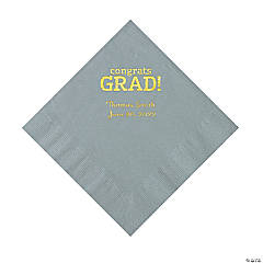 Silver Congrats Grad Personalized Napkins with Gold Foil - Luncheon