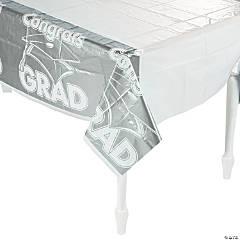 Silver Congrats Grad Plastic Tablecloth