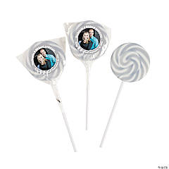 Silver Custom Photo Swirl Lollipops