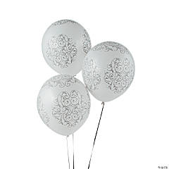 "Silver Flourish 12"" Latex Balloons"