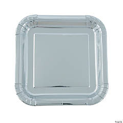 Silver Foil Square Paper Dinner Plates