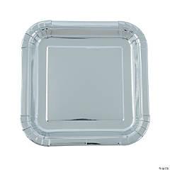 Silver Foil Square Paper Dinner Plates
