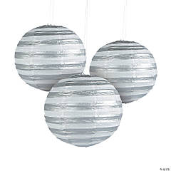 Silver Foil Striped Hanging Paper Lanterns