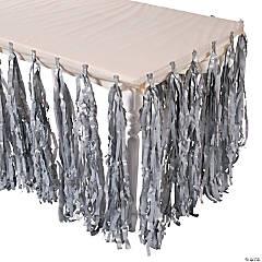 Silver Fringe Table Skirt