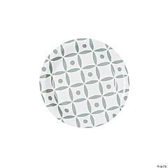 Silver Geometric Dessert Paper Plates