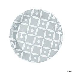 Silver Geometric Dinner Paper Plates