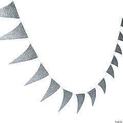 Silver Glitter Paper Pennant Banner