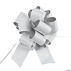 Silver Glitter Pew Bows