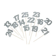 Silver Glitter Table Numbers - 13-25