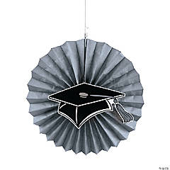 Silver Graduation Hanging Fans with Icons