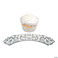 Silver Laser-Cut Cupcake Wrappers