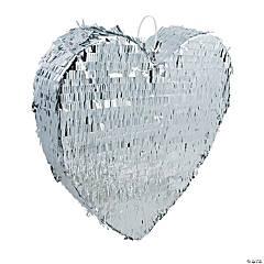 Silver Metallic Heart Piñata