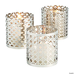 Silver Ornate Candle Holder Set