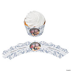 Silver Swirl Custom Photo Cupcake Wrappers
