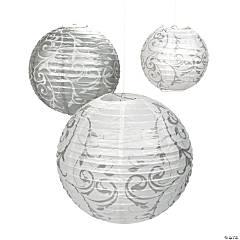 Silver Swirl Hanging Paper Lanterns