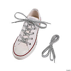 Silver Team Spirit Metallic Shoelaces