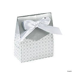 Silver Tent Favor Boxes With Bow