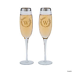 Silver Trim Monogrammed Champagne Flutes