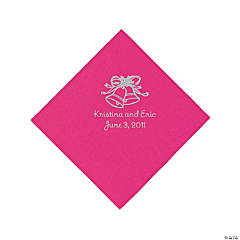 Silver Wedding Bell Beverage Napkins - Hot Pink