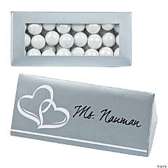 Silver Wedding Place Card Favor Boxes