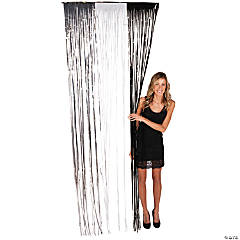Silver, White & Black Fringe Door Curtains