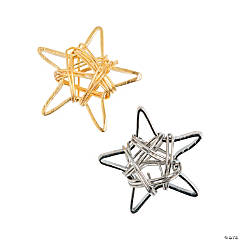 Silvertone & Goldtone Wire Star Beads