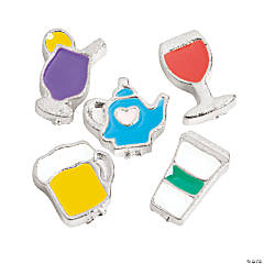 Silvertone Beverage Floating Charms