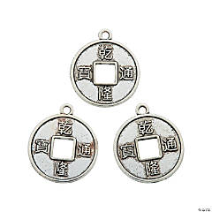 Silvertone Chinese Coin Charms