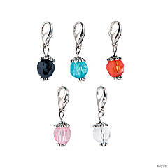 Silvertone Color Bead Dangles - 30 mm