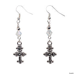Silvertone Cross Earring Kit