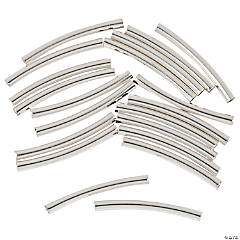 Silvertone Curved Tube Beads