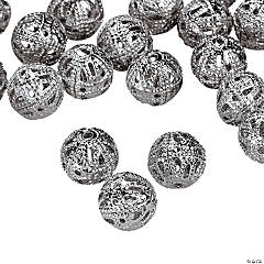 Silvertone Filigree Round Beads - 8mm