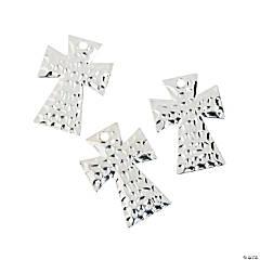 Silvertone Hammered Cross Pendants
